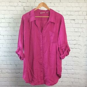 Avenue 22/24 Pink Tab Sleeve Blouse V18